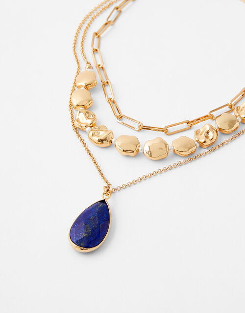 Layered Lapis Necklace with Recycled Metal, , large