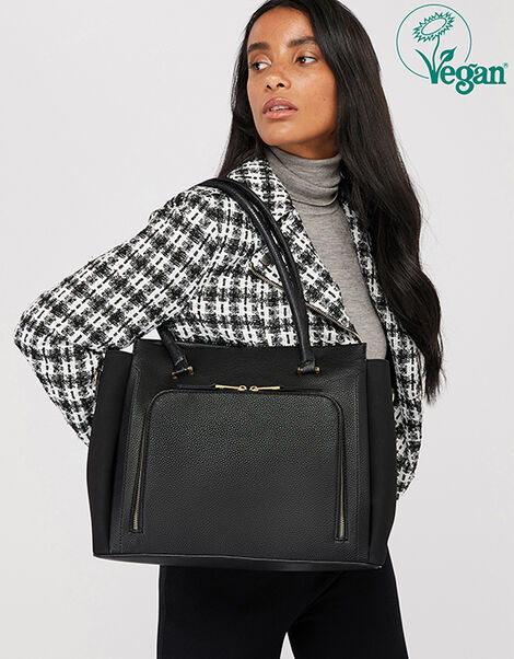 Morgan Vegan Work Tote Bag Black, Black (BLACK), large
