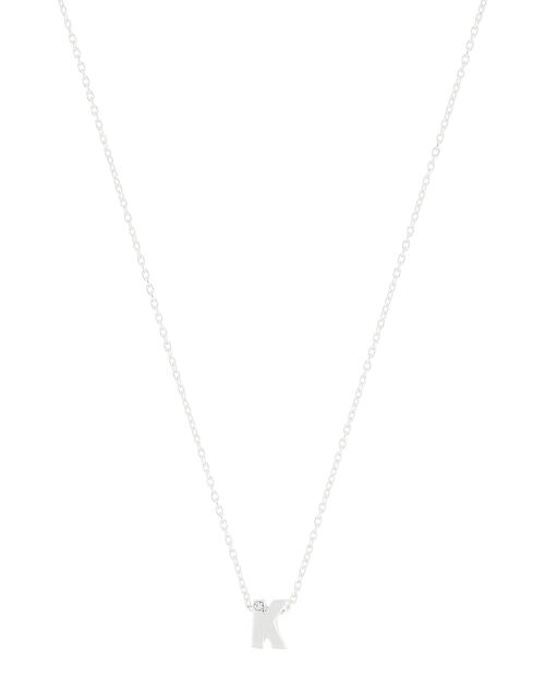 Sterling Silver Sparkle Initial Necklace - K, , large