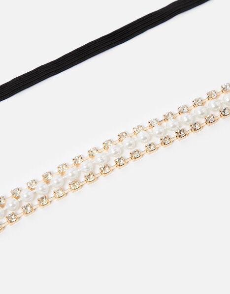 Pearl and Crystal Cup Chain Bando , , large