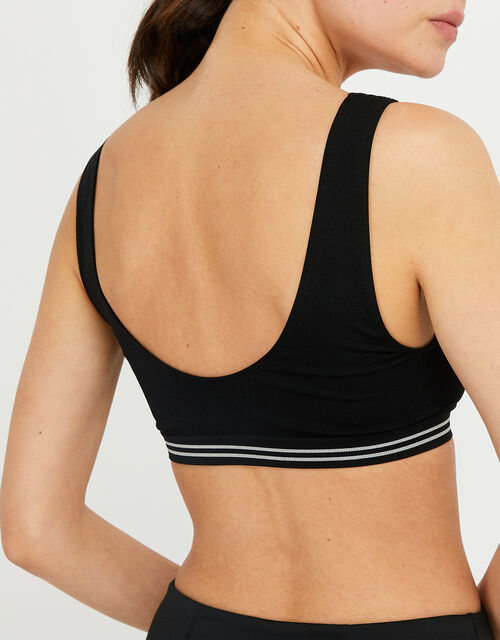 Seamless Sporty Crop Top, Black (BLACK), large