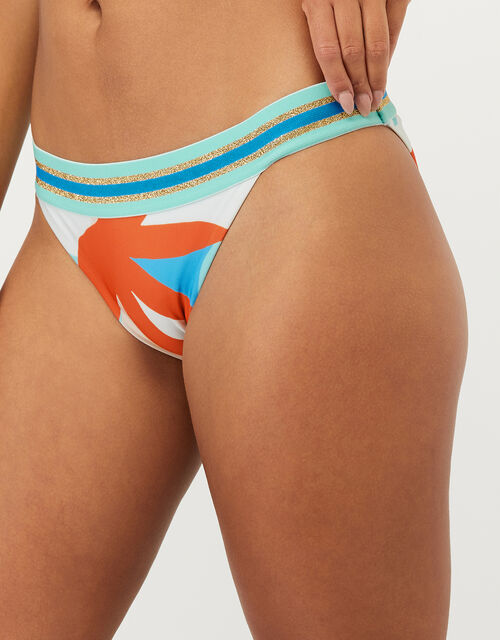 Palm Clash Print Bikini Briefs with Recycled Polyester, Multi (BRIGHTS-MULTI), large