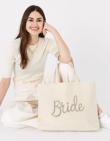 Bride Beaded Shopper Bag, , large