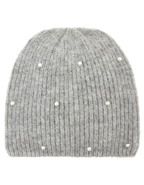 Pearl Beanie Hat, Grey (GREY), large
