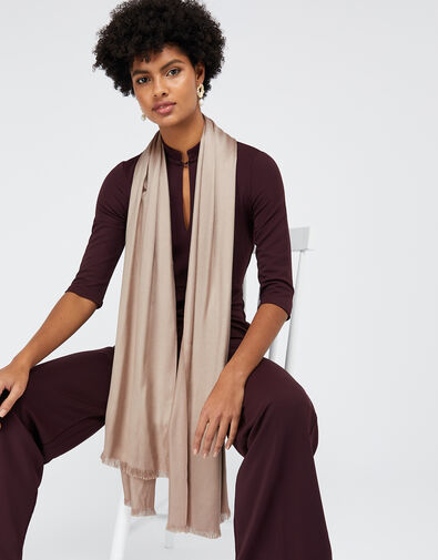 Plain Woven Scarf Natural, Natural (CHAMPAGNE), large