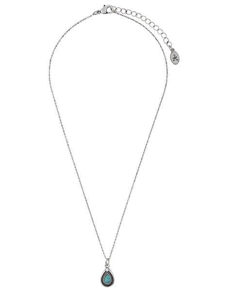 Turquoise Teardrop Pendant Necklace, , large