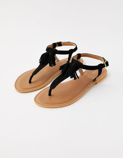 Suede Tassel Sandals Black, Black (BLACK), large