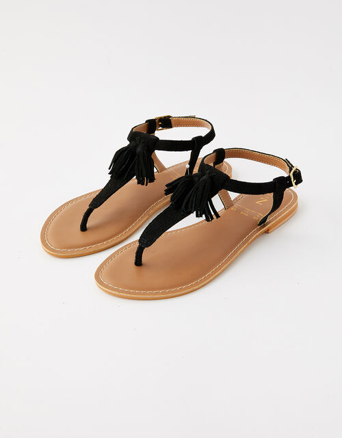 Suede Tassel Sandals, Black (BLACK), large