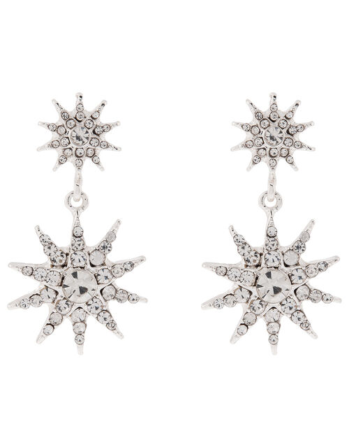 Sparkle Star Double Drop Earrings, , large