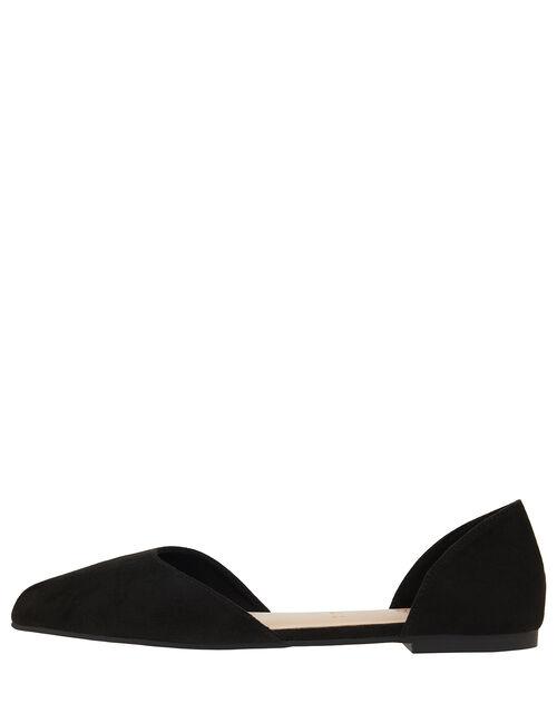 Two-Part Point Toe Flat Shoes, Black (BLACK), large