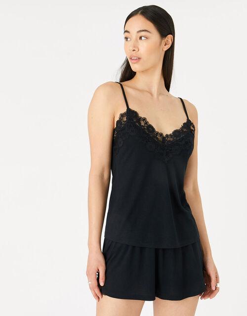 Teya Pyjama Vest and Shorts Set, Black (BLACK), large