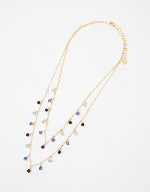 Ombre Gem Multirow Necklace, , large