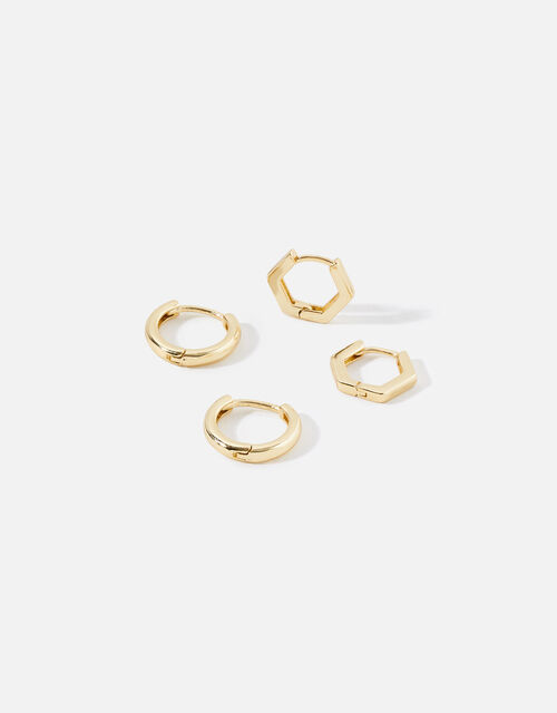 Gold-Plated Hexagon and Plain Hoop Set, , large