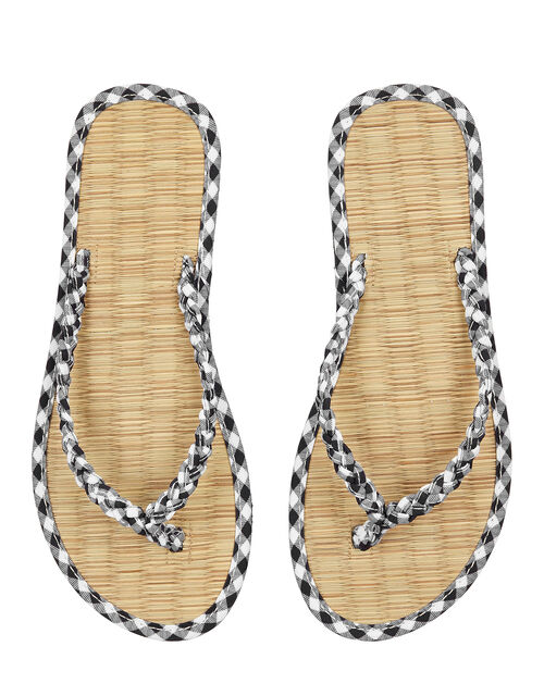 Gingham Plait Seagrass Flip-Flops, Black (BLACK), large