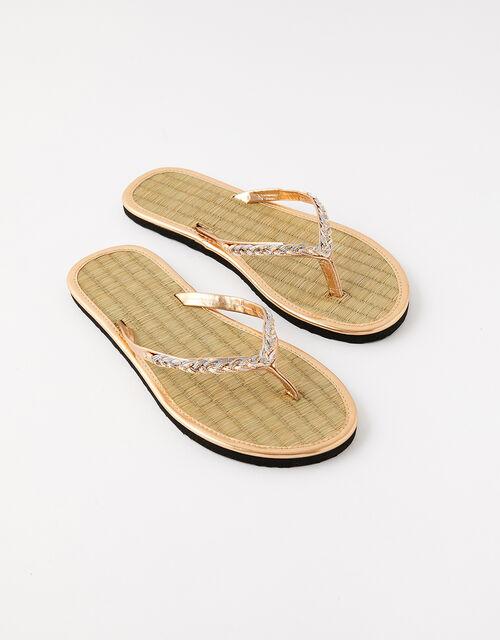Plaited Seagrass Flip Flops, Metalic (METALLICS), large