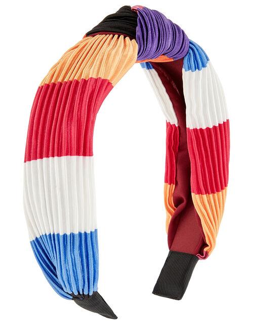 Pleated Satin Knot Headband, , large