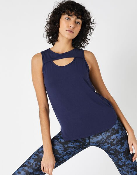 Cut-Out Vest Top Blue, Blue (NAVY), large