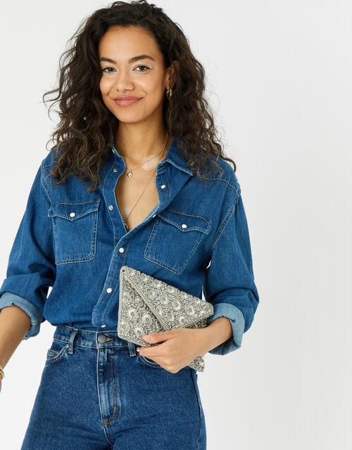 Tamara Embellished Clutch Bag, Silver (SILVER), large
