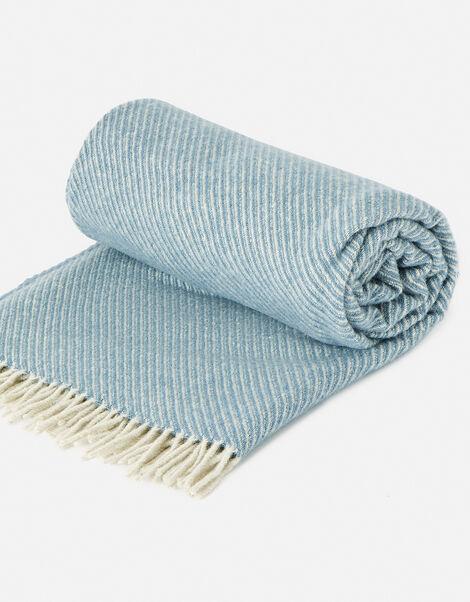 Tweedmill Tassel Throw in Pure Wool Blue, Blue (BLUE), large