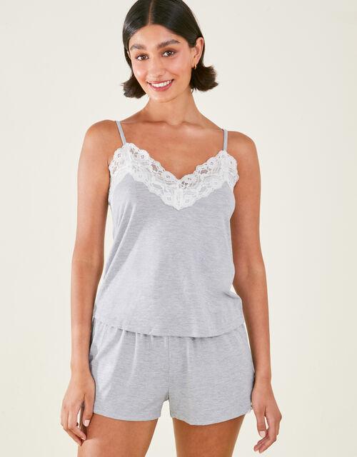 Lace Trim Pyjama Set, Grey (GREY), large