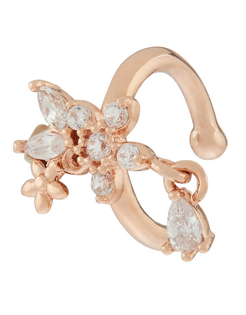 Rose Gold-Plated Sparkle Flower Ear Cuff, , large