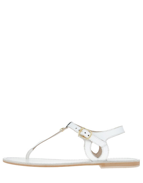 Seashell Charm Leather Sandals, White (WHITE), large