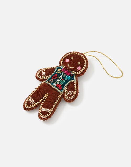 Embroidered Gingerbread Man Hanging Decoration , , large