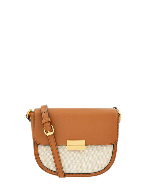 Linen Panel Cross-Body Bag, Tan (TAN), large