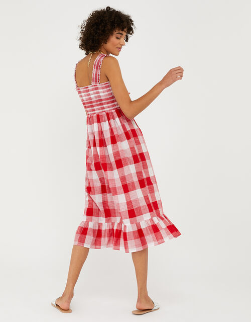 Gingham Bandeau Beach Dress in Pure Cotton, Red (RED), large