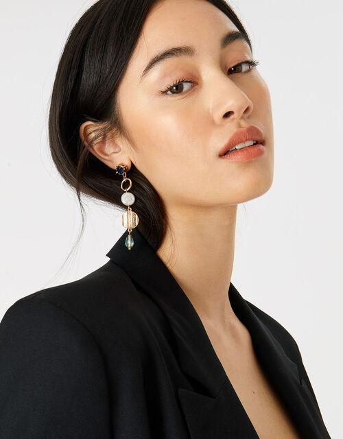 Country Retreat Pearl Gem Drop Earrings, , large
