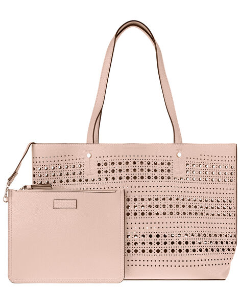 Perforated Shopper with Detachable Zip Pouch Nude, Nude (NUDE), large