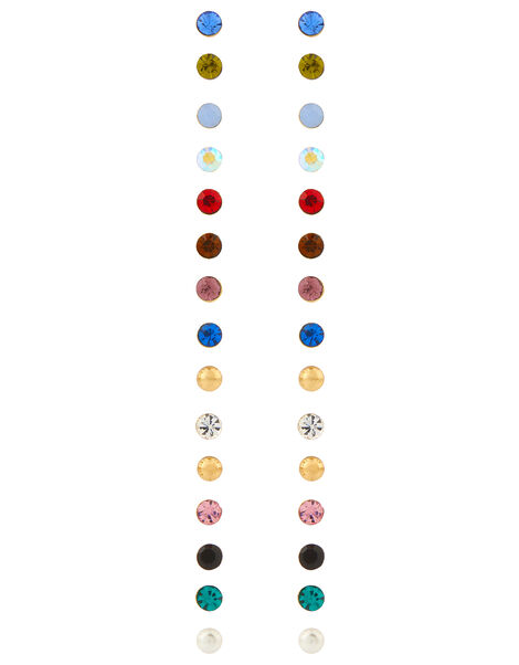 15x Multi Stone Stud Earrings Pack Multi, Multi (BRIGHTS-MULTI), large