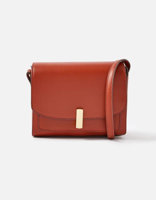 Abigail Turn Lock Cross-Body Bag , Orange (RUST), large