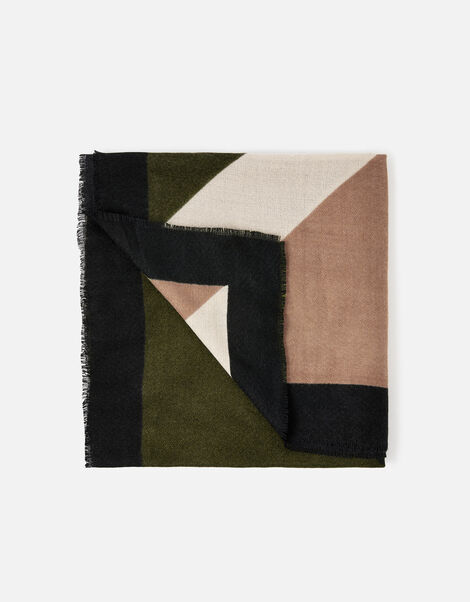 Mocha Geo Print Blanket Scarf, , large