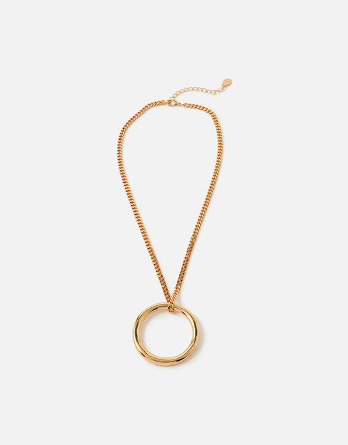 Chain and Open Circle Pendant Necklace, , large