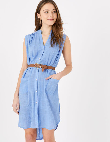 Relaxed Sleeveless Beach Shirt Blue, Blue (BLUE), large