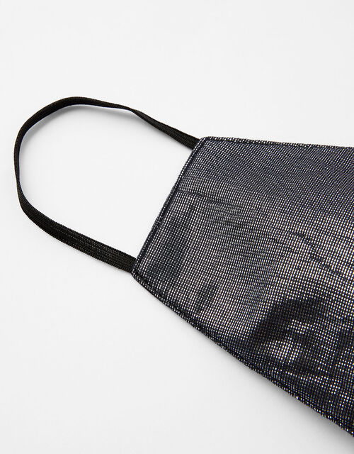 Sparkle Face Covering in Pure Cotton, Black (BLACK), large
