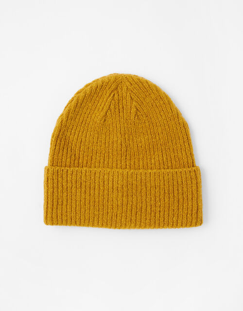 Soho Knit Beanie Hat, Yellow (OCHRE), large