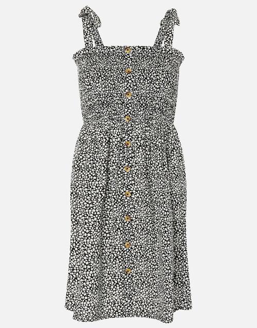 Dot Print Bandeau Dress in Organic Cotton, Black (BLACK/WHITE), large