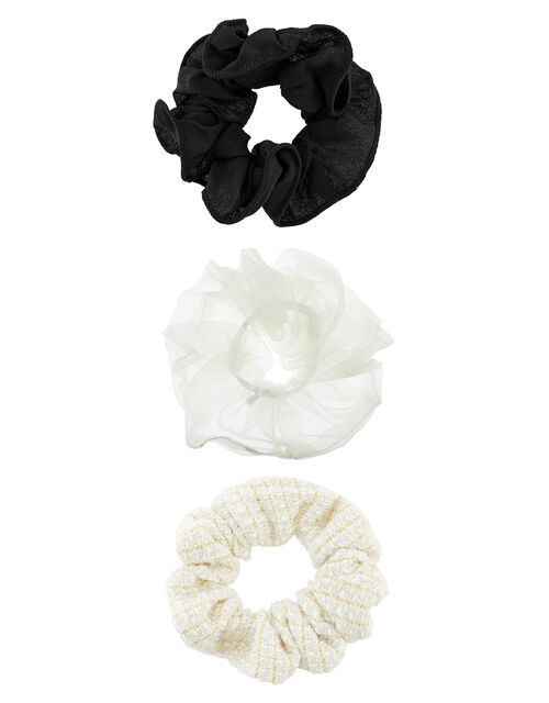 Plain, Tweed and Organza Hair Scrunchie Set, , large