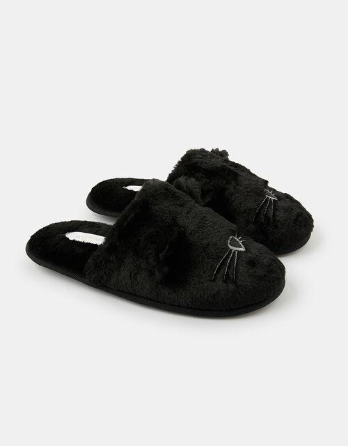 Fluffy Cat Mule Slippers, Black (BLACK), large