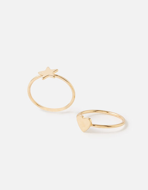 Star Heart Stacking Ring Set , Gold (GOLD), large