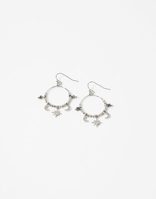Platinum-Plated Starry Charm Hoops, , large