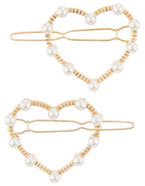 Pearl Heart Hair Slides, , large