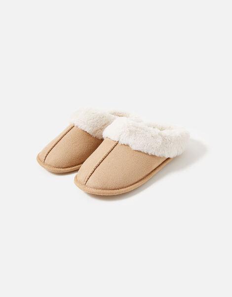 Suedette Mule Slippers Tan, Tan (TAN), large