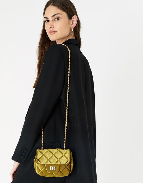 Lucy Velvet Cross-Body Bag , Yellow (YELLOW), large