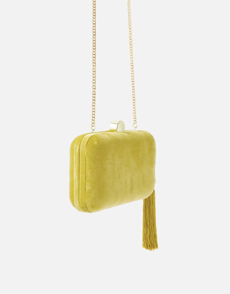 Velvet Hardcase Clutch Bag Yellow, Yellow (OCHRE), large