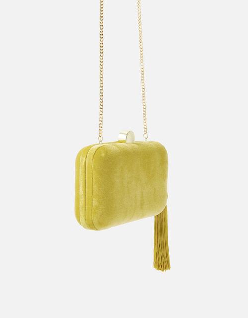 Velvet Hardcase Clutch Bag, Yellow (OCHRE), large