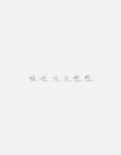 Sterling Silver Shell Stud Set, , large