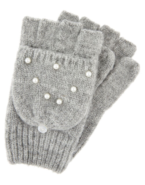 Pearly Knit Capped Mittens, Grey (GREY), large